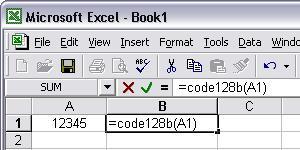 Code128 barcod excel macro