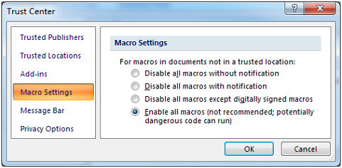 data matrix Access Macro Setting