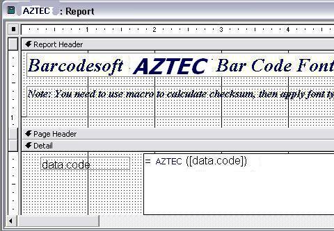 Aztec Code barcode access macro