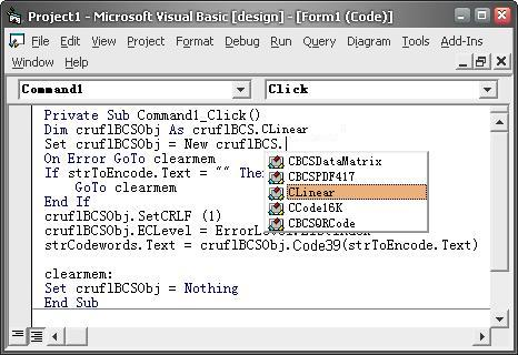 Barcode Visual Basic add reference