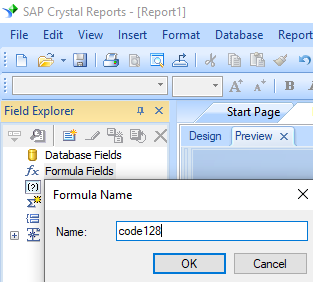 create code128 formula crystal reports