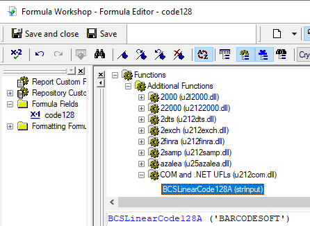 code128 crystal reports UFL