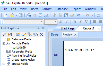 code39 barcode crystal reports UFL