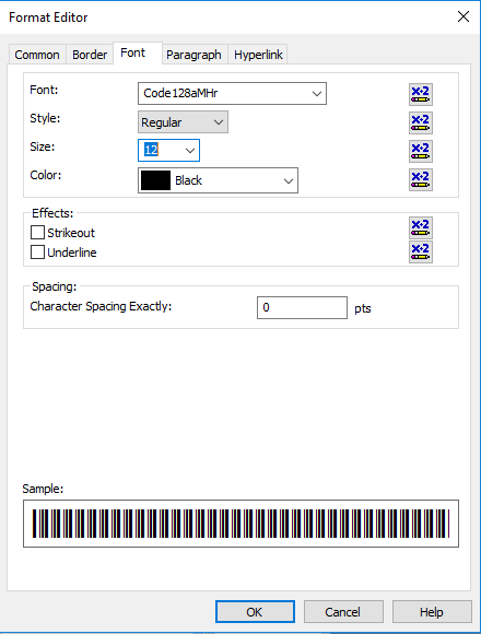 code128 barcode font crystal reports