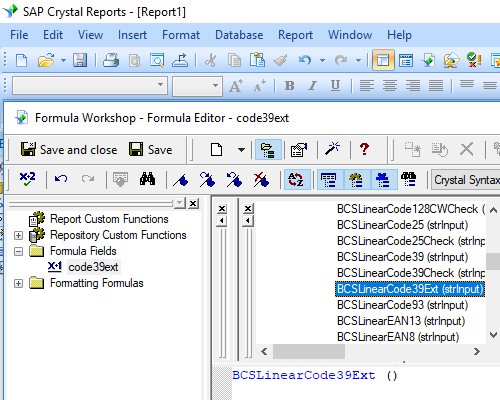 Code39 extended barcode crystal reports UFL