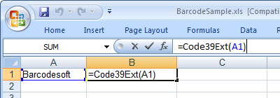 Code39 extended barcode excel macro
