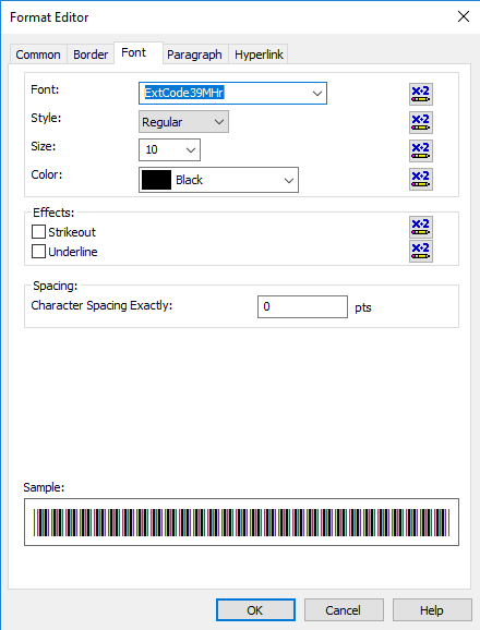 Code39 extended barcode font crystal reports