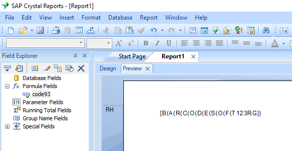Code93 barcode crystal reports formula field