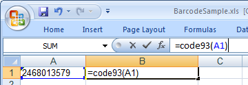 Code93 barcod excel macro
