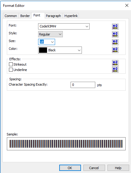 Code93 barcode font crystal reports