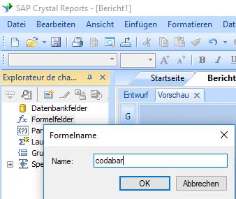 Codabar barcode erstellen formel crystal reports