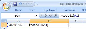 Code11 barcode Excel makro