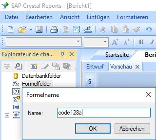 code128 barcode erstellen formel Kristallbericht
