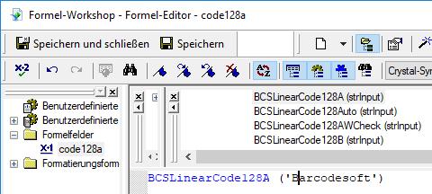 code128 barcode Kristallbericht UFL