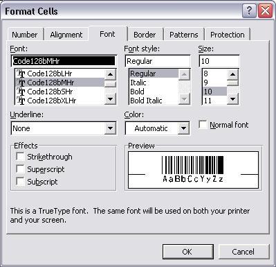 code128 barcode schriftart excel