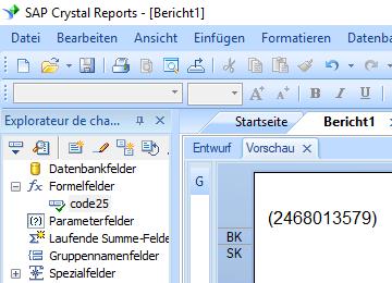 code25 barcode crystal reports formelfelder