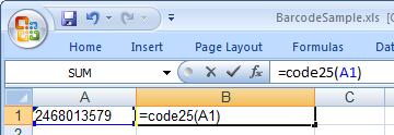 code25 barcode Excel macro