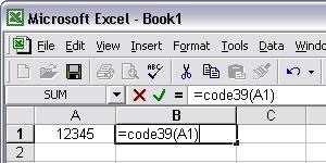 Code39 barcode Excel macro