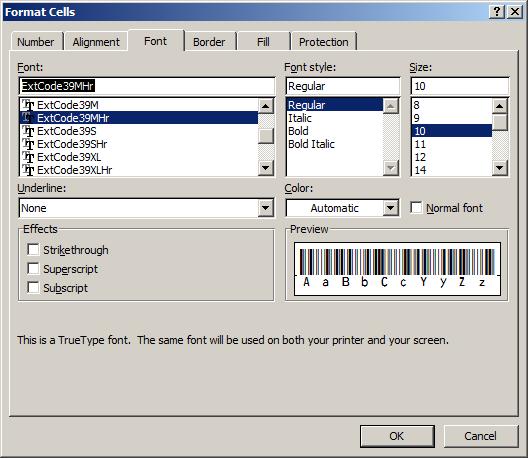 Extended-Code39 barcode schriftart excel