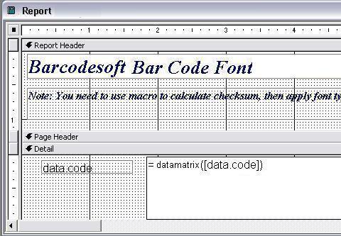 DataMatrix barcode access macro