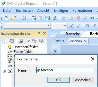 GS1-Databar barcode erstellen formel crystal reports