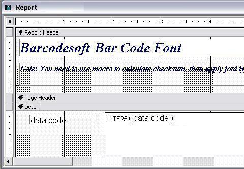 Interleaved 2 aus 5 barcode barcode access macro
