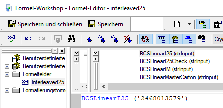 Interleaved 2 aus 5 barcode crystal reports UFL