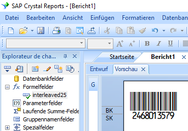 Interleaved 2 aus 5 barcode crystal reports