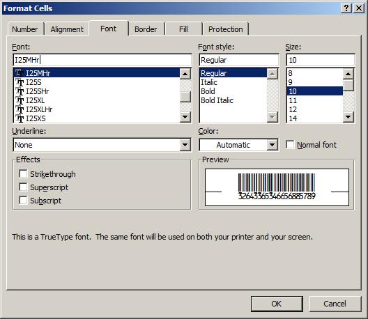 Interleaved 2 aus 5 barcode typeface excel