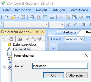 MaxiCode erstellen formel crystal reports