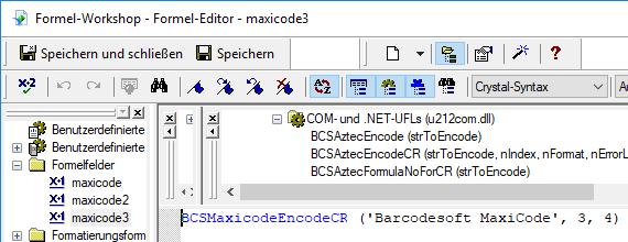 MaxiCode crystal reports formelfelder