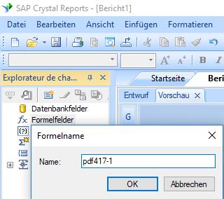 PDF417 erstellen formel Kristallbericht