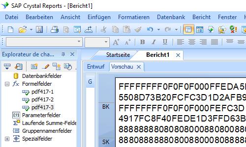 PDF417 Kristallbericht Formelfelder