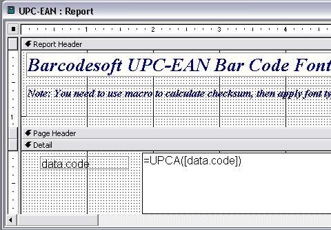 UPCA barcode barcode access macro
