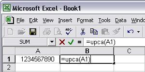 UPCA barcode Excel macro