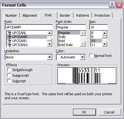 UPCA barcode typeface excel