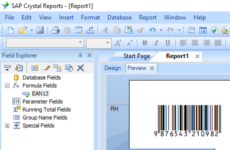 EAN13 barcode crystal reports