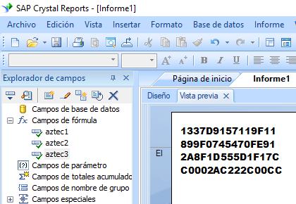 Aztec Code crystal reports fórmula campo