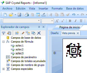 Aztec Code crystal reports