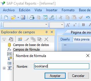 Bookland código de barras crear fórmula crystal reports
