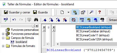 Bookland código de barras crystal reports UFL