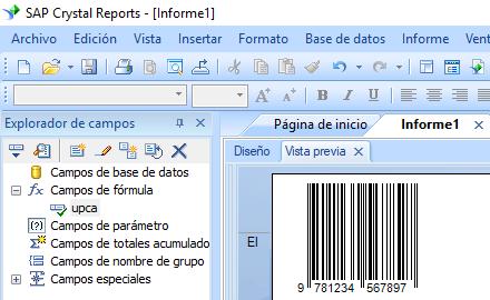 Bookland código de barras crystal reports