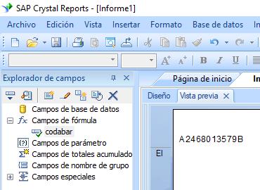 Codabar código de barras crystal reports fórmula campo