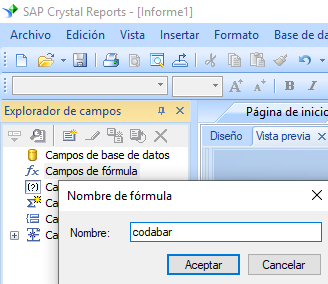 Codabar código de barras crear fórmula crystal reports
