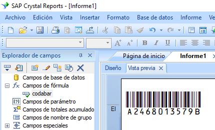Codabar código de barras crystal reports