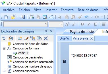 code11 código de barras crystal reports fórmula campo