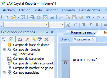 code128 código de barras crystal reports fórmula campo