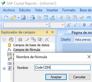 code128 código de barras crear fórmula crystal reports