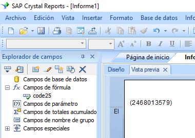 code25 código de barras crystal reports fórmula campo