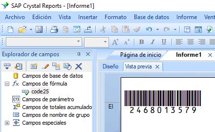 code25 código de barras crystal reports